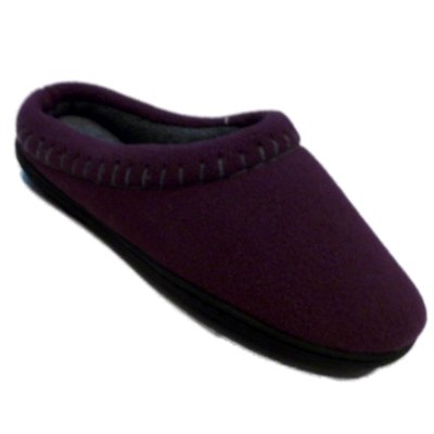 Image of Womens Dearfoams Purple Fleece Stitched Clogs Small 5-6 Slippers (B005KKDD5O)