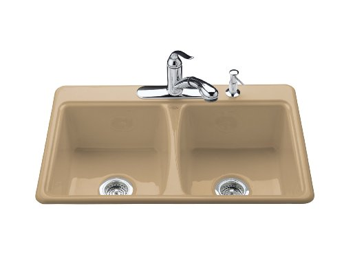 KOHLER K-5815-4-33 Deerfield Self-Rimming Kitchen Sink, Mexican Sand