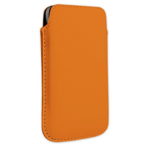 Orange Kunstleder Handytasche