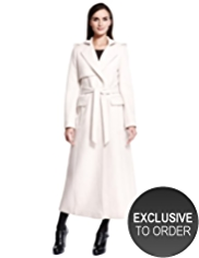 Autograph Luxury Wool Rich Long Belted Trench Coat with Angora