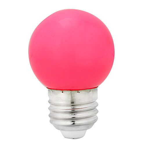 MEXUD-1W E27 Coloured Round LED Golf Ball Light Bulb Lamp (Hot Pink) (Hot Pink Lightbulbs compare prices)