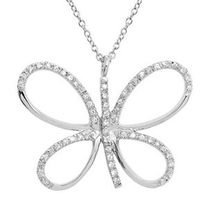 Sterling Silver Cubic Zirconia Large Butterfly Pendant w/ Chain (Nickel Free)