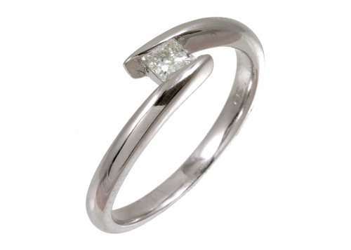 9ct White Gold Diamond Engagement Ring With Princess Cut Diamond Solitaire, Twist Ring, 0.28 carat Diamond Weight