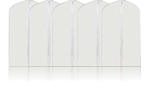 Top Quality Easy Organize Travel Clothing Bag Clothing Dust Cover, Set of 6 units Clear Zipped Suit Bags Zipper Garment Cover - 40 Inches Long (White) (Zipped Garment Bags compare prices)