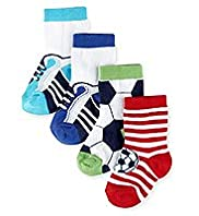 4 Pairs of Football Baby Socks