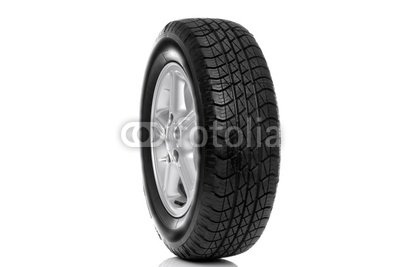 "Wallmonkeys Peel and Stick Wall Decals - Photo of a Car Tyre (tire) on a Five Spoke Alloy Wheel Isolated - 36""W x 24""H Removable Graphic"