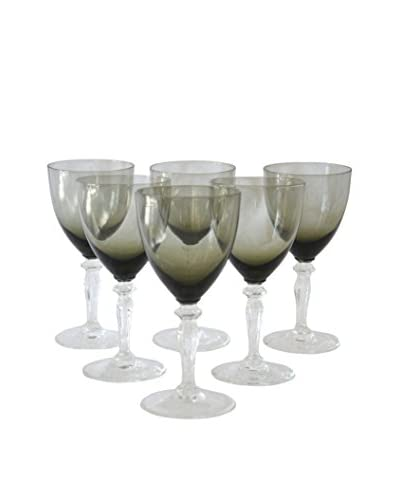 Patina Vie Vintage Set of 6 Smoke Gray Etched Goblets, Grey/Clear