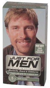 Just For Men Mustache and Beard, Brush-In Color Gel, Dark Blond/Lightest Brown, 1 Kit, (Pack of 3)