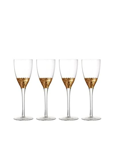 Fitz & Floyd Daphne Set of 4 Gold-Tone 10-Oz. Wine Glasses