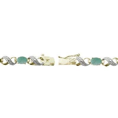 Gold Tone 5.4ct Emerald & Diamond Accent Infinity Bracelet 7.5