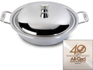 All Clad 4340 Stainless Steel 4-Quart 40th Anniversary American Casserole Pan with Lid