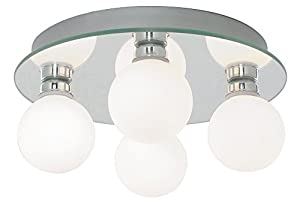 Modern 4 Lamp IP44 Low Energy Halogen Bathroom Ceiling Light by Haysom Interiors