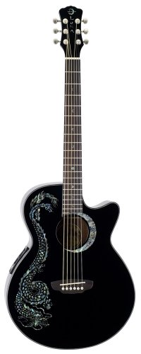 Luna FAU DRA-BLK Electro Acoustic Fanua Guitar with Abalone Inlaid Dragon