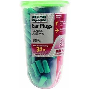 MSA Safety Works 10087625 Foam Ear Plugs, Orange and Green, 80-Pairs