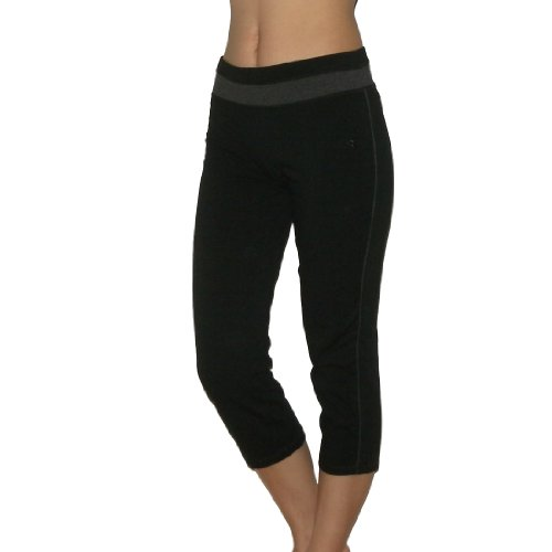 Womens Active Intent Athletic Capri Yoga pants / Lounge Pants - Black