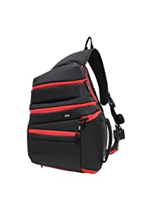 BBP DSLR Sling Bag Black/Red with iPad Slot and RAIN COVER ,fits Canon EOS 7D, 5D, 60D, 50D, Rebel T3, T3i, T2i, T1i, XS