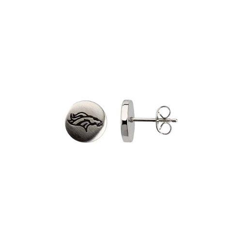 24671 St Steel Pair 10mm Denver Broncos Logo Stud Earrings Football NFL Men Team