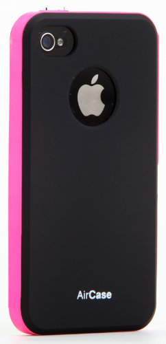AirPlus AirCase Florescent Colour Back Case Cover For Apple iPhone 4/4s [BLACK PINK]