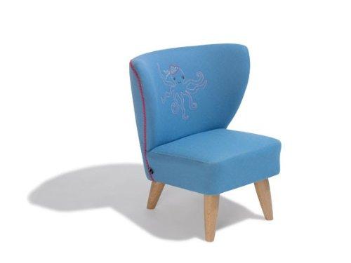 Dreams4Home Kindersessel 'Holly', 50x50x54 cm, Blau mit Motiv Krake, Sessel