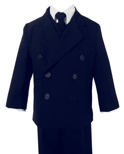 Boy Db Double Breasted Formal Dress Suit Set (4, Navy) front-223410