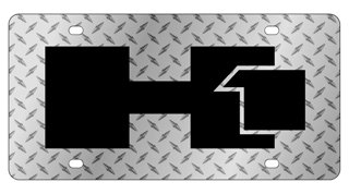 Hummer H1 Diamond Plate License Plate Includes Free Durable Clear Plastic Shield!!!