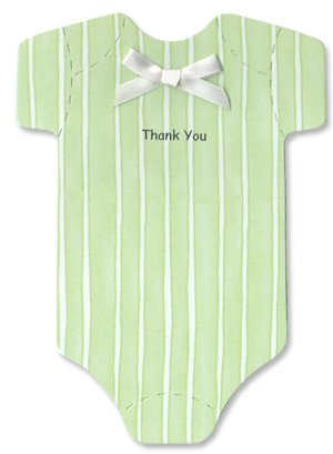 Baby Thank-you Cards - Light Green Striped Onesies