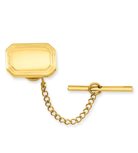 Gold-plated Polished Rectangle Tie Tack