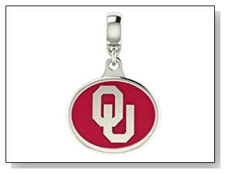 Oklahoma Sooners Collegiate Drop Charm Fits Most Pandora Style Bracelets Including Pandora Chamilia Zable Troll and More. High Quality Bead in Stock for Fast Shipping.
