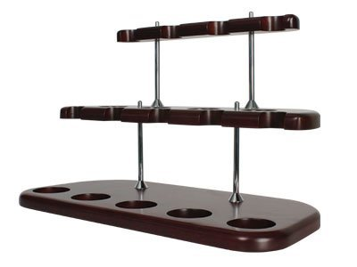 Tobacco Pipe Stand Furniture Mahogany Finish with Silver Posts 2 Tiers - 9 Pipe Stand