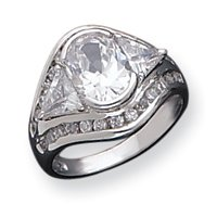 Sterling Silver CZ Ring - Size 8 - JewelryWeb