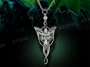 LOTR Arwen Evenstar Platinum Plated Pendant with Chain