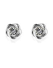 M&S Collection Silver Plated Knot Stud Diamanté Earrings