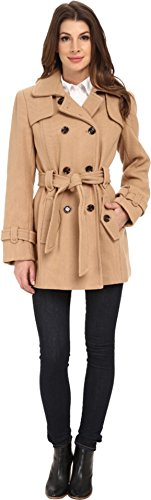 Calvin Klein Womens Double Breasted Belted Wool Trench Coat