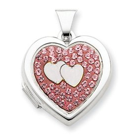 Sterling Silver 18mm Heart Dbl Heart Rose Crystal Locket - JewelryWeb
