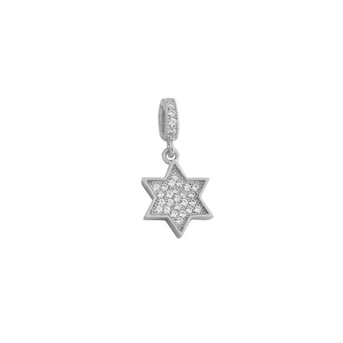 Ladies Sterling Silver star Pendant with White CZ and Free Silver Chain