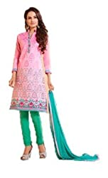 Urfashionguru Women's Chanderi Unstitched Dress Material (UFGDRMSH0594001_Pink_Free Size)