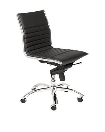Euro Style Dirk Low Back Office Chair No Arms, Black