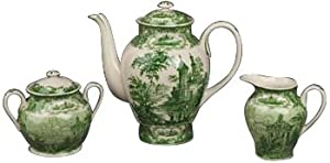 Set of 3 Green and White Porcelain Cream Sugar and Tea Set