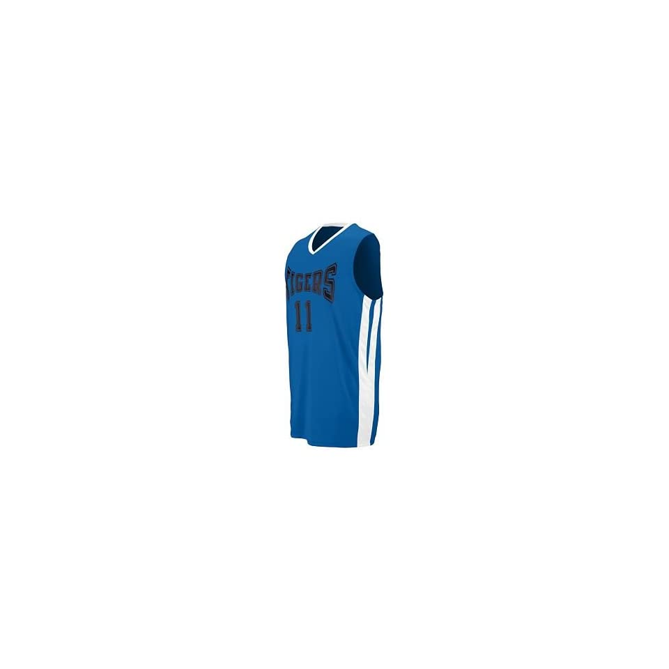 Adult Triple Double Game Jersey   Royal and White   Medium