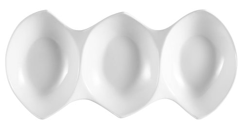 CAC China COL-3 Porcelain 3 Divided Bowls, 14-3/4 by 7 by 2-1/4-Inch, Super White, Box of 12