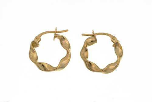 9ct Yellow Gold UER 026Y Ladies Hoop Earrings