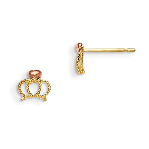 14K Madi K Yellow & Rose Gold Children'S Crown Post Earrings