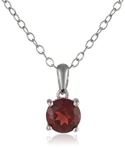 Sterling Silver 6mm Round Garnet Solitaire Pendant, 18""
