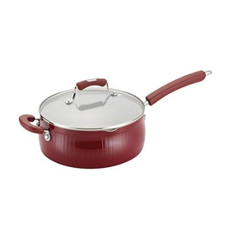 Paula Deen Savannah Collection Aluminum Nonstick Covered Saute Pan With Pour Spouts And Helper Handle, 4-Quart, Red front-626934