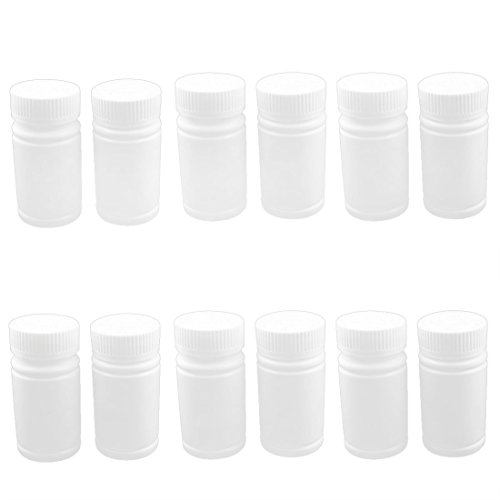 uxcell® Plastic Lab Wide Mouth Medicine Bottles Holder Container 12pcs White (Medicine Bottle Container compare prices)