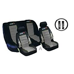A Set of Low Back Type X Racing Style Front Bucket Seat Covers, Bench Seat Cover, Steering Wheel Cover and Shoulder Strap Cover - Grey