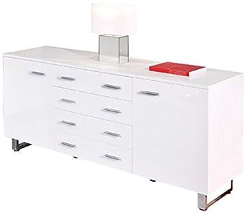 Commode avec 2 Portes et 4 tiroirs Blanc Brillant, Dim : 175 x 44 x 75 cm -PEGANE-