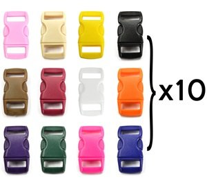"Cheap Bluecell 120 PCS of 3/8"" (10mm) 12 Colors (10 Each) Contoured Side Release Plastic Buckle..."