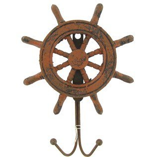Weathered Finish Pinewood Ship Steering Wheel Nautical Wall Hook