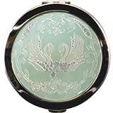 綺羅 キラキラ コンパクトミラー[鏡] 丸型 デコ鏡 [白鳥]拡大鏡[拡大ミラー]2倍